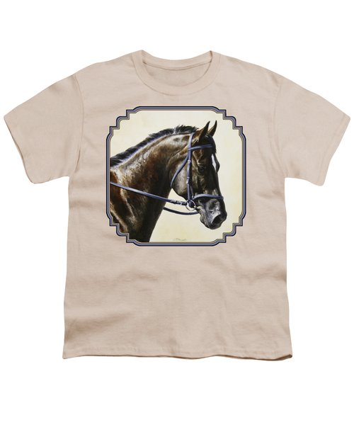 Dark Bay Dressage Horse Phone Case Youth T-Shirt
