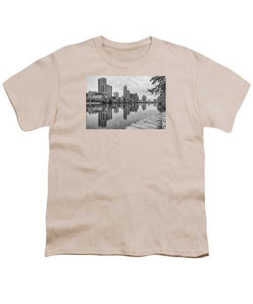 Downtown Austin In Black And White Across Lady Bird Lake - Colorado River Texas Hill Country Youth T-Shirt by Silvio Ligutti