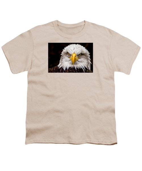 Defiant And Resolute - Bald Eagle Youth T-Shirt by Rikk Flohr