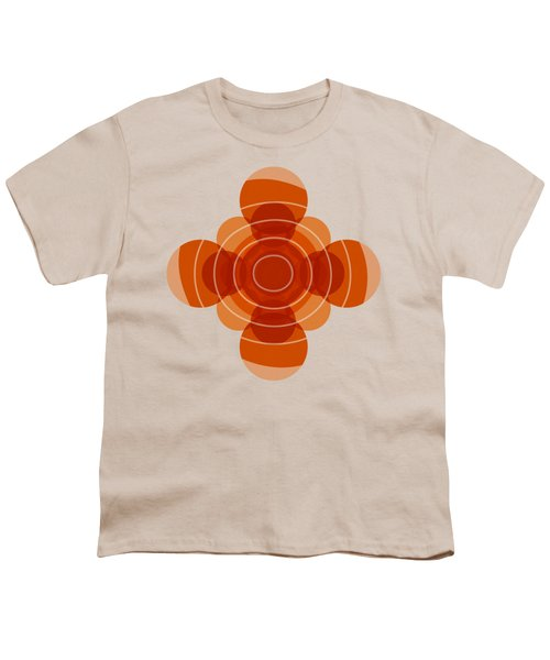 Earthy Red Scandinavian Floral Design Youth T-Shirt