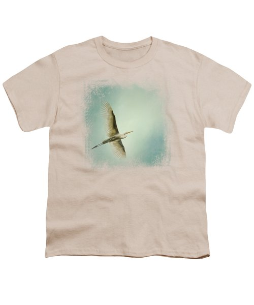 Egret Overhead Youth T-Shirt by Jai Johnson