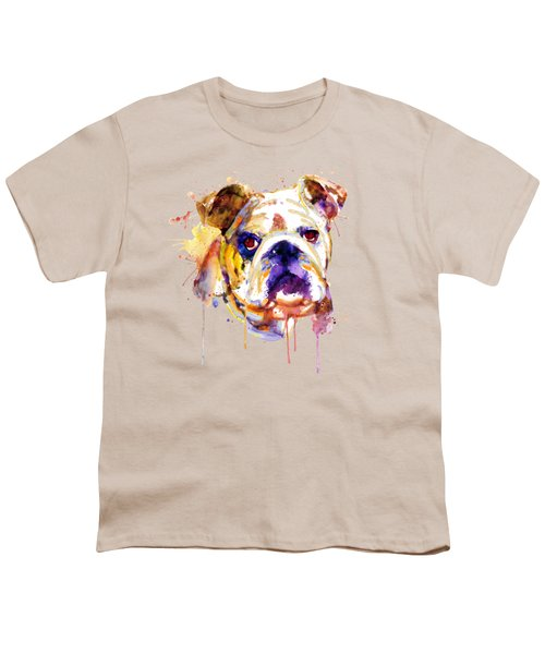 English Bulldog Head Youth T-Shirt by Marian Voicu