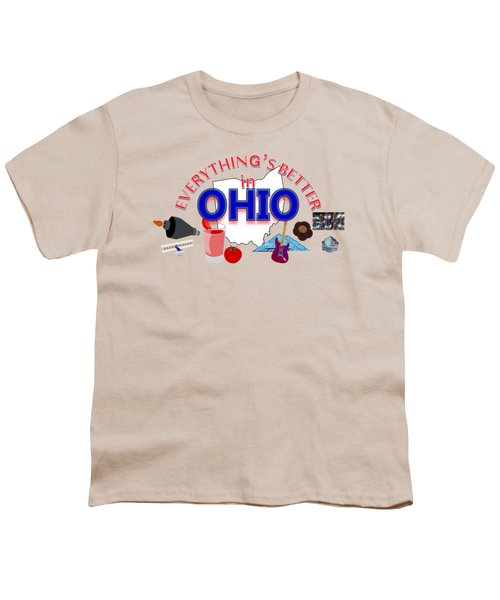 Everything's Better In Ohio Youth T-Shirt by Pharris Art