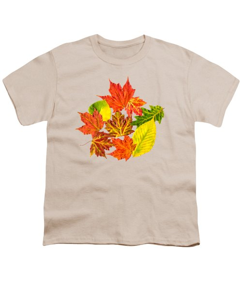 Fall Leaves Pattern Youth T-Shirt by Christina Rollo