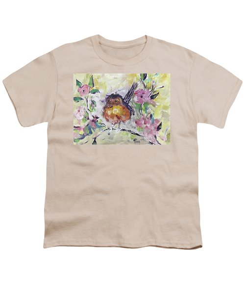 Fluffy Robin In Pink Cherry Blossoms Youth T-Shirt