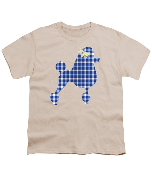 Youth T-Shirt featuring the mixed media French Poodle Plaid by Christina Rollo