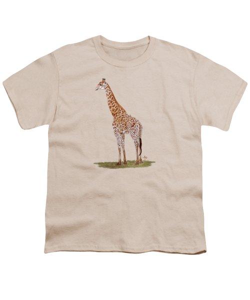 Giraffe Youth T-Shirt by Angeles M Pomata
