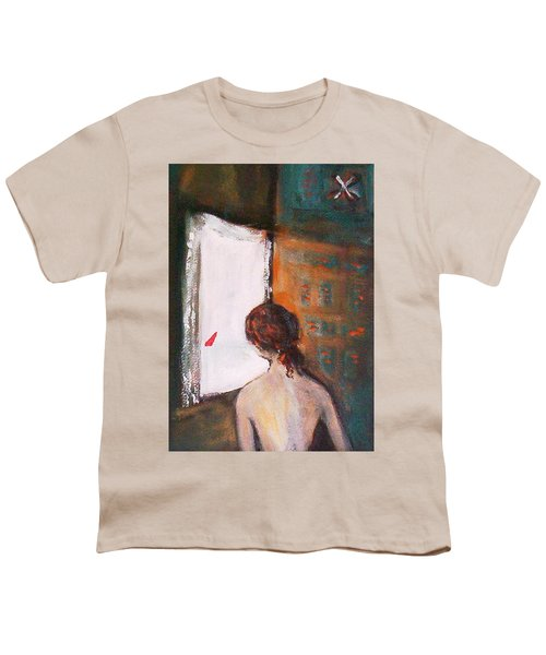 Youth T-Shirt featuring the painting Girl At The Window by Winsome Gunning
