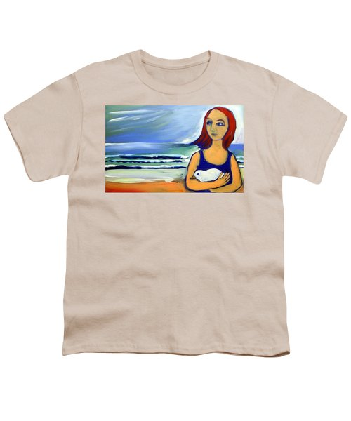 Youth T-Shirt featuring the painting Girl With Bird by Winsome Gunning