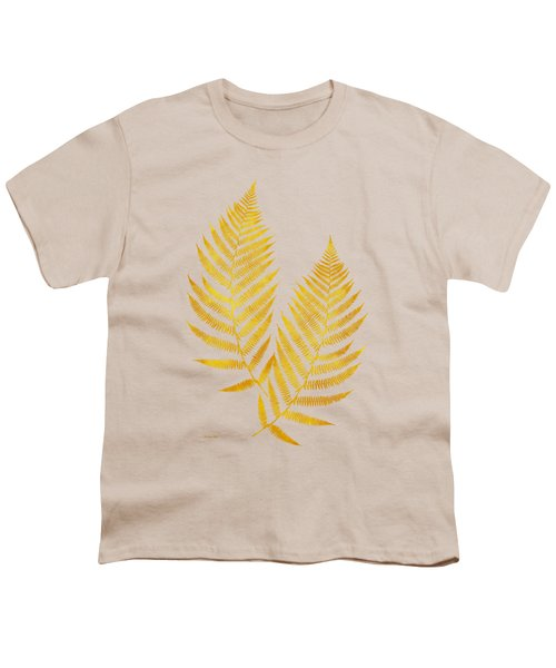 Youth T-Shirt featuring the mixed media Gold Fern Leaf Art by Christina Rollo