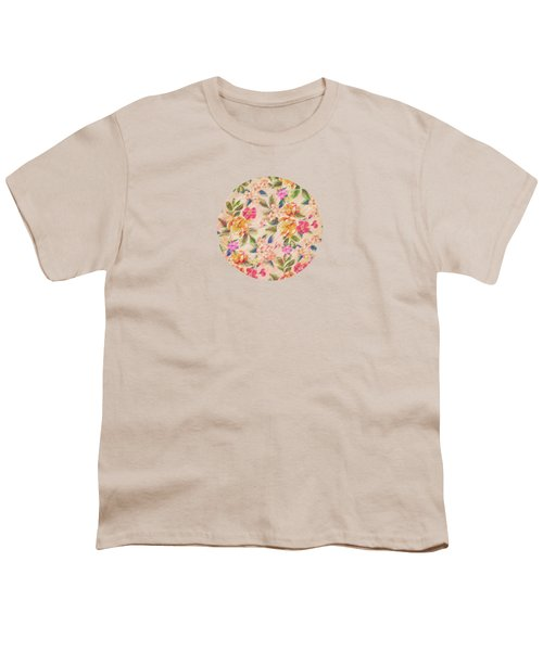 Golden Flitch Digital Vintage Retro  Glitched Pastel Flowers  Floral Design Pattern Youth T-Shirt