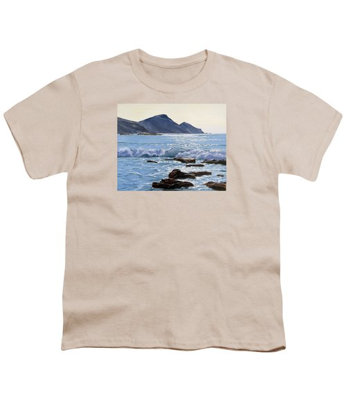 Youth T-Shirt featuring the painting Golden Light At Crackington Haven by Lawrence Dyer