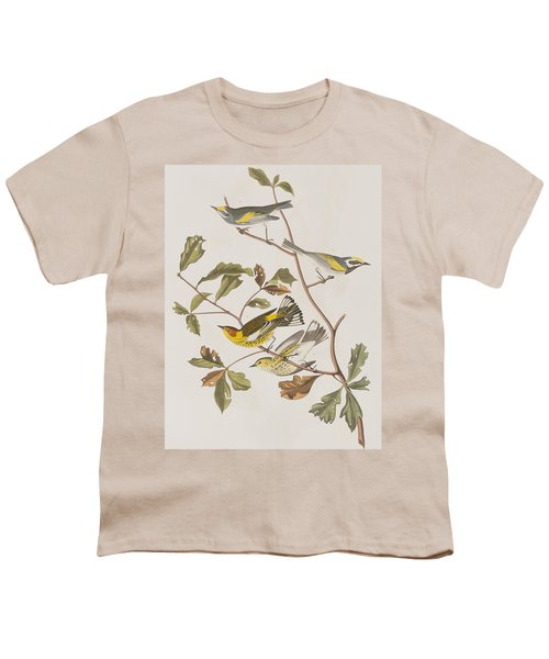 Golden Winged Warbler Or Cape May Warbler Youth T-Shirt by John James Audubon