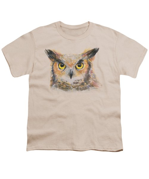 Great Horned Owl Watercolor Youth T-Shirt by Olga Shvartsur