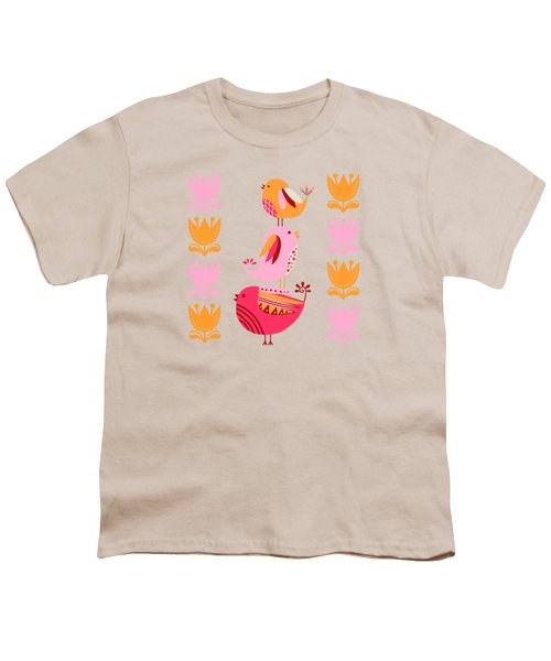 Happy Pink And Orange Birds And Blooms Youth T-Shirt