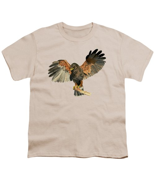 Hawk Flapping Wings Watercolor Painting Youth T-Shirt