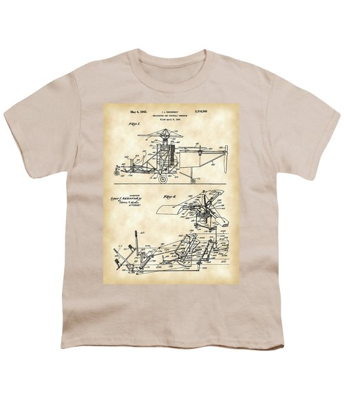 Helicopter Patent 1940 - Vintage Youth T-Shirt