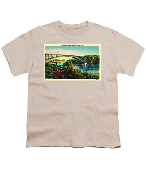 Henry Hudson Bridge Postcard Youth T-Shirt by Cole Thompson