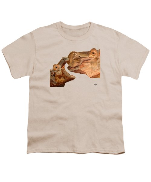 Hippos Youth T-Shirt by Angeles M Pomata
