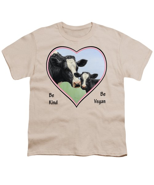 Holstein Cow And Calf Pink Heart Vegan Youth T-Shirt