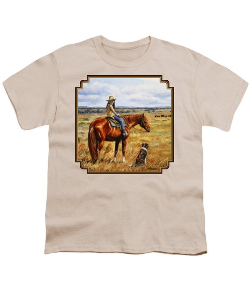 Horse Painting - Waiting For Dad Youth T-Shirt by Crista Forest