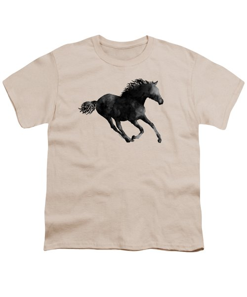 Horse Running In Black And White Youth T-Shirt