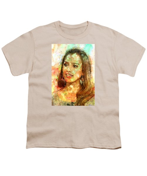 Jessica Alba Youth T-Shirt by Elena Kosvincheva