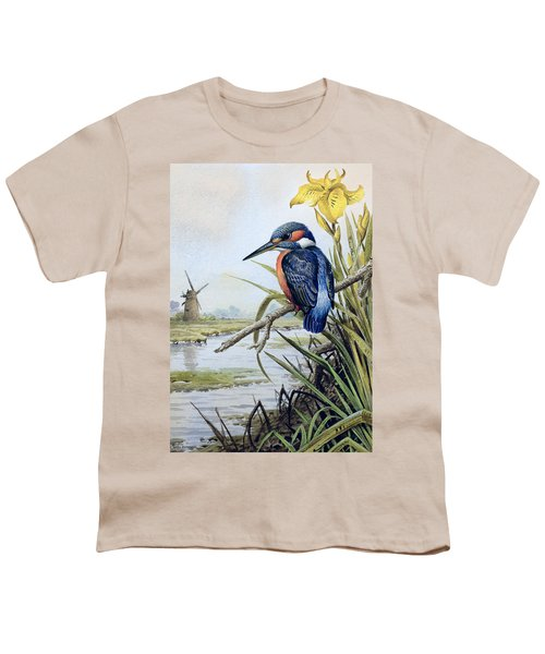 Kingfisher With Flag Iris And Windmill Youth T-Shirt