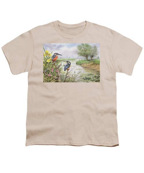 Kingfishers On The Riverbank Youth T-Shirt