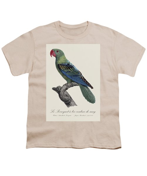 Le Perroquet A Bec Couleur De Sang / Great-billed Parrot - Restored 19thc. Illustration By Barraband Youth T-Shirt by Jose Elias - Sofia Pereira