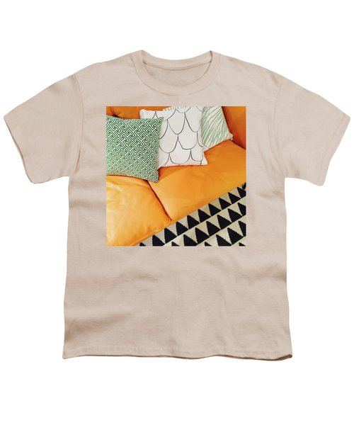 Leather Sofa With Ornamental Cushions Youth T-Shirt by GoodMood Art