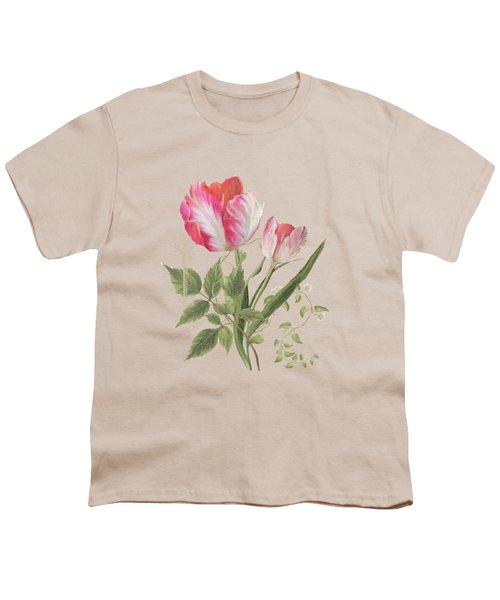 Les Magnifiques Fleurs I - Magnificent Garden Flowers Parrot Tulips N Indigo Bunting Songbird Youth T-Shirt by Audrey Jeanne Roberts
