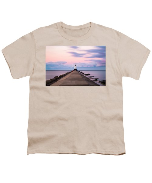 Youth T-Shirt featuring the photograph Ludington North Breakwater Light Sunrise by Adam Romanowicz