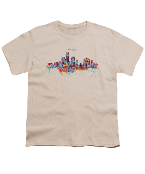 Milwaukee Watercolor Skyline Youth T-Shirt by Marian Voicu