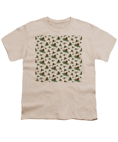 Mountain Lodge Cabin In The Forest - Home Decor Pine Cones Youth T-Shirt