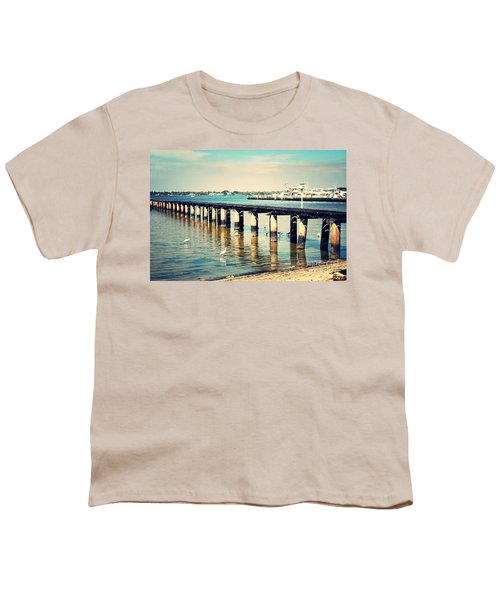Old Fort Myers Pier With Ibises Youth T-Shirt by Carol Groenen