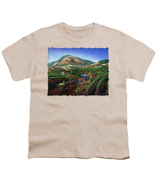 Old Wine Country Landscape - Delivering Grapes To Winery - Vintage Americana Youth T-Shirt