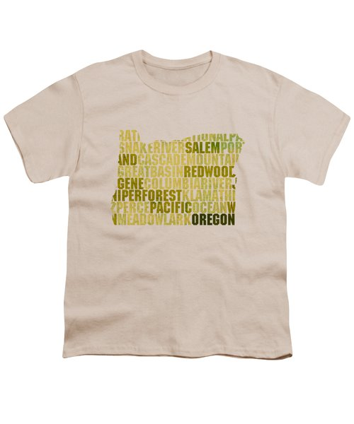 Oregon State Outline Word Map Youth T-Shirt by Design Turnpike