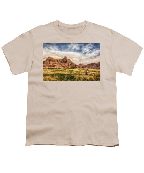 Photographer Waiting For The Badlands Light Youth T-Shirt by Rikk Flohr
