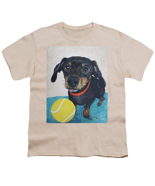 Playful Dachshund Youth T-Shirt by Megan Cohen