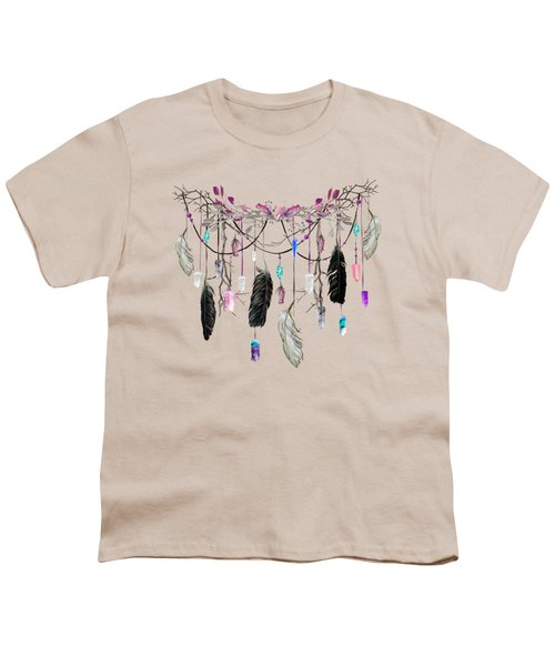 Raven Feathers And Roses Crystal Spirit Gazer Youth T-Shirt