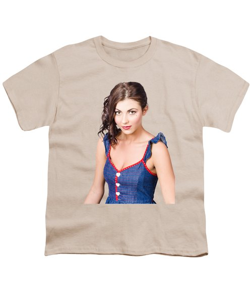 Retro Pin-up Girl In Blue Denim Dress Youth T-Shirt by Jorgo Photography - Wall Art Gallery