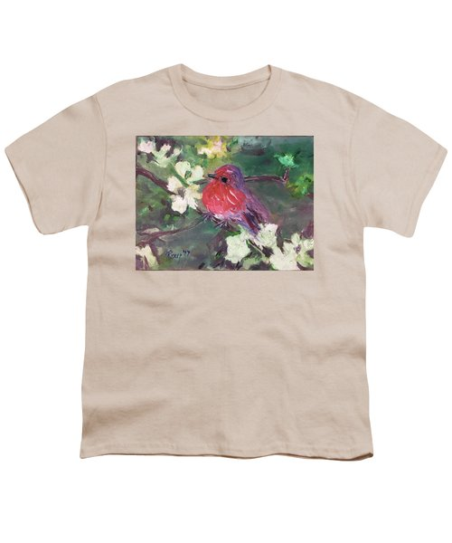 Robin Chick In White Cherry Blossoms Youth T-Shirt