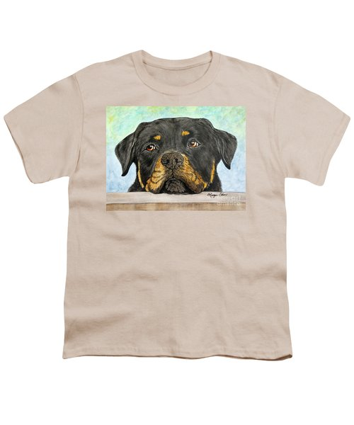 Rottweiler's Sweet Face 2 Youth T-Shirt by Megan Cohen