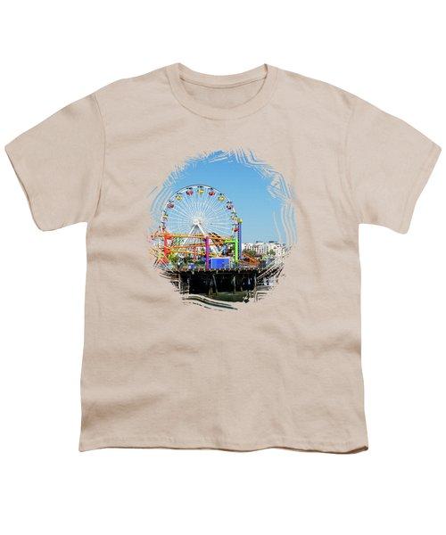 Santa Monica Ferris Wheel Youth T-Shirt by Stefanie Juliette