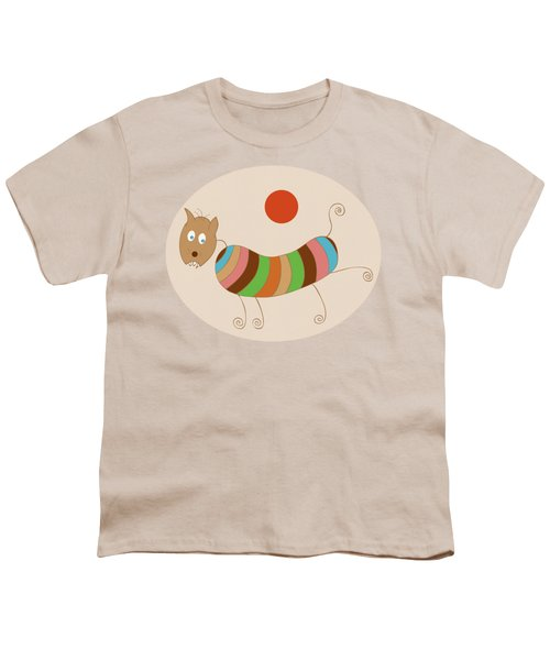 Sausage Dog In Ketchup Sunset Youth T-Shirt