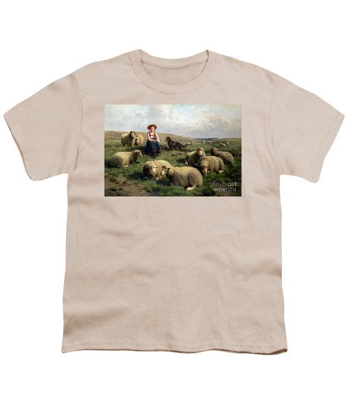Shepherdess With Sheep In A Landscape Youth T-Shirt