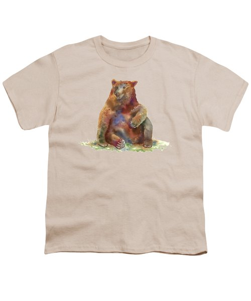 Sitting Bear Youth T-Shirt by Amy Kirkpatrick