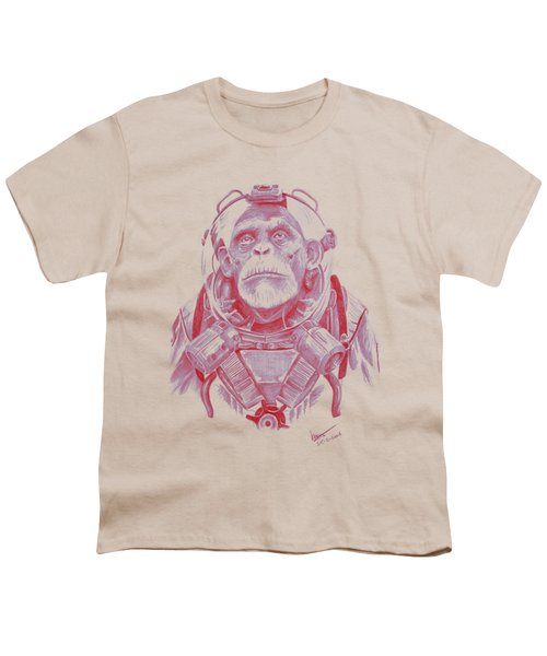 Space Chimp Youth T-Shirt by Kenny Noorlander