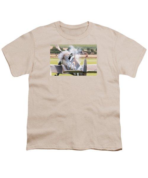 Spitfire Engine Start Smoke Rings Youth T-Shirt by Gary Eason